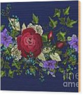 Pink Metallic Rose On Blue Wood Print