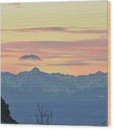 Pink Mountains Wood Print