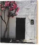 Pink Oleander By The Door Wood Print