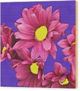 Pink On Purple Wood Print