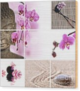 Pink Orchid And Buddha Collage Wood Print