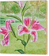 Pink Oriental Lillies Wood Print