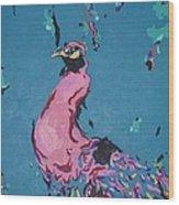 Pink Peacock Full View Wood Print