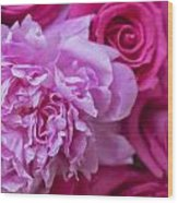 Pink Peonies And Pink Roses Wood Print