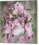 Pink Peonies Bouquet - Square Wood Print
