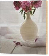Pink Peonies In A Pot On The Wooden Table Wood Print