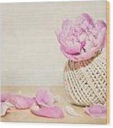 Pink Peony And The Thread Ball Wood Print