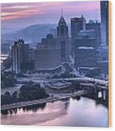 Pink Pittsburgh Morning Wood Print