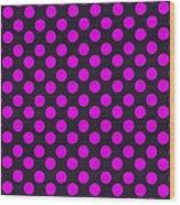 Pink Polka Dots On Black Fabric Background Wood Print