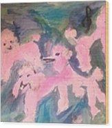 Pink Poodle Polka Wood Print