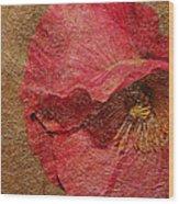 Pink Poppy Gold Leaf Wood Print