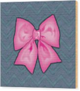 Pink Ribbon Chevron Denim Background Wood Print