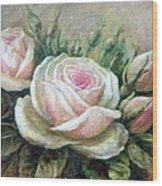 Pink Rose And Rose Buds II Wood Print
