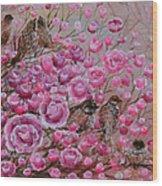 Pink Rose Birdies Wood Print
