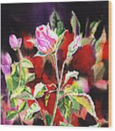 Pink Rose Bloom Wood Print