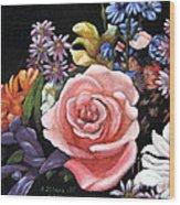 Pink Rose Floral Painting Wood Print
