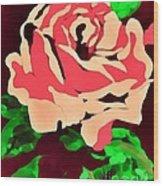 Pink Rose Impression Wood Print