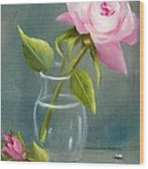 Pink Rose In Glass Wood Print