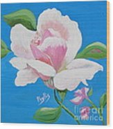 Pink Rose In Paint Wood Print