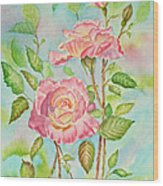 Pink Roses And Bud Wood Print