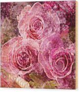 Pink Roses And Pearls Wood Print