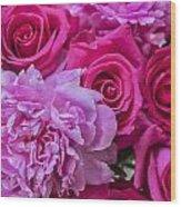 Pink Roses And Peonies Please Wood Print
