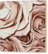 Pink Roses Bouquet Sketchbook Effect Wood Print