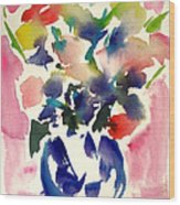 Pink Roses In A Blue Vase Wood Print