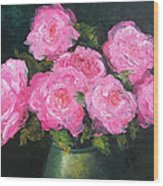 Pink Roses In A Brass Vase Wood Print