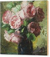 Pink Roses In A Vase Wood Print