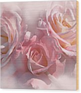 Pink Roses In The Mist Wood Print