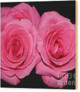 Pink Roses With Brush Stroke Effects Wood Print