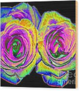 Pink Roses With Colored Foil Effects Wood Print