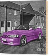 Pink Saab  Wood Print