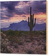 Pink Skies At The Superstitions Wood Print