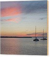 Pink Sky After Sunset, Oia, Santorini Wood Print