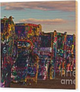 Pink Sky At Cadillac Ranch Wood Print