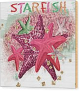 Pink Starfish Wood Print