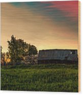 Pink Sunrise. Old Barn An Cherry Blossom Wood Print