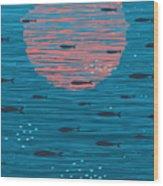 Pink Sunset And Fish Underwater Cartoon Wood Print