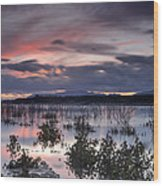 Pink Sunset At The Lake Wood Print