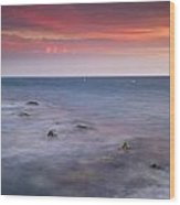 Pink Sunset At The Mediterraneas Sea Wood Print
