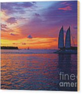 Pink Sunset In Key West Florida Wood Print by Susanne Van Hulst