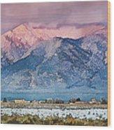 Pink Sunset On Taos Mountain Wood Print