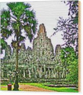 Pink Tower In The Bayon In Angkor Thom In Angkor Wat Archeological Park Near Siem Reap-cambodia Wood Print