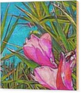Pink Tropical Flower With Honeybee - Horizontal Wood Print