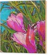 Pink Tropical Flower With Honeybee - Vertical Wood Print