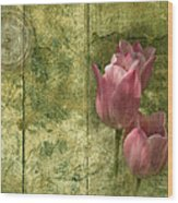 Pink Tulips And Old Clock Wood Print