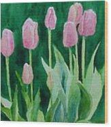 Pink Tulips Colorful Flowers Garden Art Original Watercolor Painting Artist K. Joann Russell Wood Print