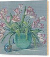 Pink Tulips In Green Vase Wood Print